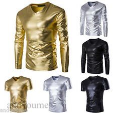 New Mens Dance V-neck Muscle Casual Long Short Sleeve Slim Fit T-shirt Tee Tops