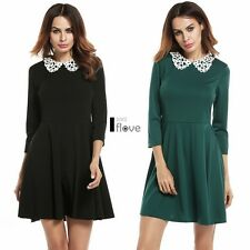 Women Lace Peter Pan Collar 3/4 Sleeve Fit and Flare Pleated Dress ILOE