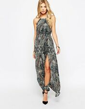 NEW ROCK & RELIGION CHIFFON MAXI DRESS SEXY SPLIT FESTIVAL BOHO PRINT PARTY LOOK