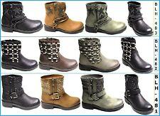Womens Ladies Ankle Boots Buckle Stars Studs Shoes PU Block Zip Biker Cool Boot