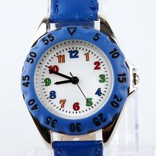 Kids Learn Tell Time Watch Boy Girl Children's Tutor PU Leather Wristwatch U48