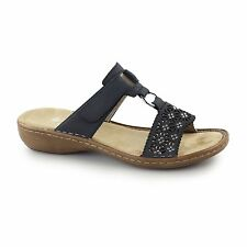Rieker 60871-14 Ladies Womens Touch Close Open Toe Mule Summer Sandals Navy Blue