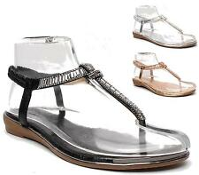 NEW WOMENS FLATS TOE POST DIAMANTE SANDALS LADIES ELASTIC SLINGBACK SLIPPERS 3-8