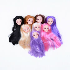 Quality Doll Head with Colorized straight Hair DIY Accessories For Barbie