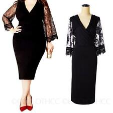 womens ladies Long 3/4 Sleeve Lace Prom Cocktail Bodycon Dress Plus Size 8-20