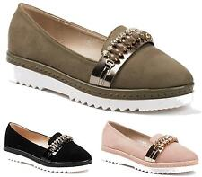 Womens Flats Faux Suede Smart Loafers Diamante Shoes Ladies Office Work Size New