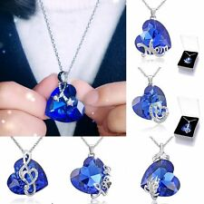 Fashion Sapphire Crystal Heart Note Pendant Necklace Women Mother's Day Gift+Box