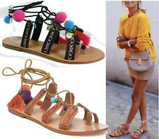 WOMENS LADIES POM POM STRAP FLAT LACE UP SHOES BEACH GLADIATOR SANDALS SiZE 3 -8