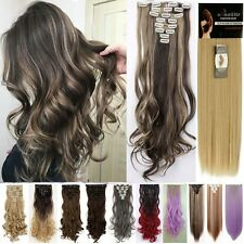 Real Thick UK 18 Clips Clip in Full Head Hair Extensions Extension Human Favored