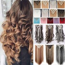 10% Human Hair Thick Clip In Hair Extensions Curly Full Head Hair Extentions Fm2