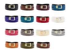 Bonded Leather Belt LIZARD Skin Pattern Solid Colors Gold-Tone Buckle XL Sizes