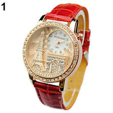 Women Lady Eiffel Tower Dial Faux Leather Band Quartz Wrist Watch Novelty