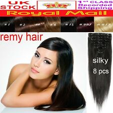 110g Standard Weft Full Head Clip in 100% Remy Human Hair Extensions Silky YU367