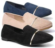 WOMENS FLAT BALLET PUMPS FAUX SUEDE GOLD PIPING DIAMANTE SLIP ON WALKING SHOES