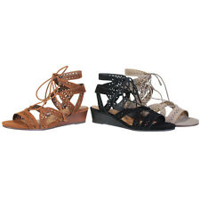 BAMBOO EH03 Women's Lace Up Gladiator Hollow Out Strappy Ankle Wedge Sandals