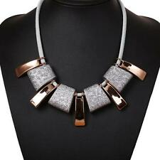 Irregular  Leather Rope Scrub Square Fashion Geometry  Clavicle Chain Necklace