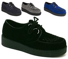 MENS FLAT BLACK PLATFORM WEDGE LACE UP GOTH PUNK CREEPERS SHOES BOOTS SIZE