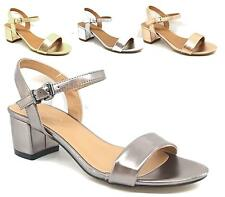WOMENS BLOCK HEEL PEEP TOE METALLIC SANDAL PARTY CASUAL LADIES ANKLE STRAP SHOES