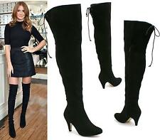 WOMENS LADIES THIGH HIGH OVER THE KNEE MID KITTEN HEEL WIDE TIE UP BOOTS SHOES
