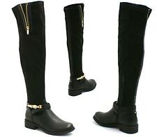 WOMENS LADIES OVER THE KNEE HIGH SUEDE ZIP UP LOW HEEL BOOTS SHOES SIZE