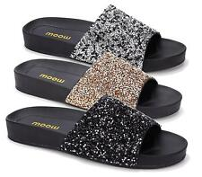 WOMENS LADIES NEW SUMMER FLAT SLIP ON BEADED BEACH HOLIDAY SANDALS SHOES SIZE