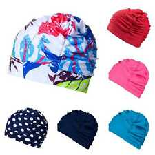 Womens Nylon Stretch Cap Elasticity Long Hair Earmuffs Swimming Caps Bathing Hat