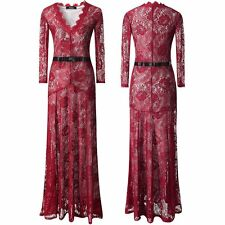 Wine Red Elegant Formal Long Dress Party Cocktail Bridesmaid Wedding Lace Dress