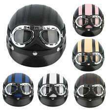 Motorcycle Scooter Open Face Half Synthetic Leather Helmet Visor UV Goggles A#