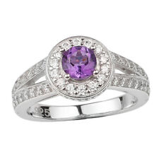 Natural Purple Amethyst Women's Sterling Silver Ring January Birthstone Gift