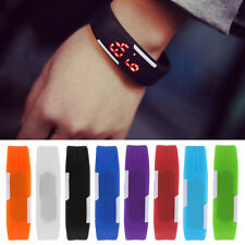 Fashion Mens Women Rubber LED Watch Sports Bracelet Digital Wrist Watch A#