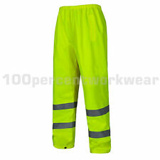 Aqua Yellow High Visibility Polyester Waterproof Over Trousers Pants Hi Viz Vis