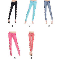 New Ladies Women Sexy Jeans Side Bow Cutout Ripped Denim Trousers Pants M/L/XL