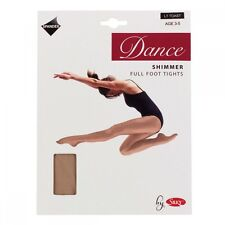Ladies Silky Full Foot Shimmer Dance Tights - Toast - Light Toast