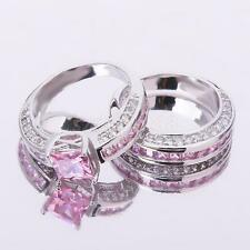 1Pair Pink Zircon Couple Wedding Band Lovers Promise Engagement Ring Set
