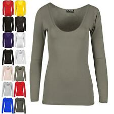 Ladies Womens Long Sleeve Stretchy Plain Jersey Scoop Neck Vest Tee T Shirt Top