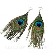 vintage gift Ladies Womens jewellery Peacock Feather Dangle Drop Hook Earrings