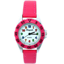 New Learn Time Watch Boy Girl Children's Tutor PU Leather Quartz Wristwatch U48