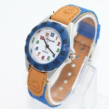 Popular Fashion Fabric Strap Kids Boy Girls Learn Time Quartz Wristwatch U32