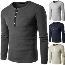New Mens Slim Fit Plain Cotton T-shirt Casual Long Sleeve Basic Tees Tops Blouse