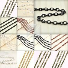 HOT 4M 13.12 feet Unfinished Chain Necklace Ball Curb Flat Cable Rollo Woven