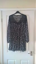River Island Size 14 Blue / White / Black lace Detail Dress