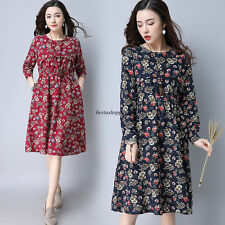 Boho Ethnic Women Floral Slim Waist Cotton Linen Casual Shirt Tunic Dress Caftan
