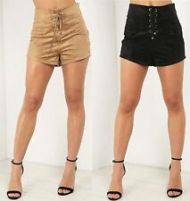 Ladies Womens High Faux Suede Waisted Hotpants Corset Detail Shorts Pants