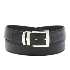 Men's Bonded Leather Belt in Solid Colors HORNBACK Pattern Silver-Tone Buckle