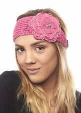 Chilled Carnation Knit Headband with Sequin Flower for Girls