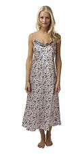 Ladies Long Satin Chemise Nightdress Black Floral on Pale Pink Sizes 8 - 22