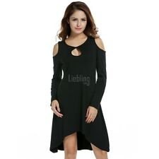 Women Off-shoulder Long Sleeve Shift Dress Asymmetric Hem Loose Casual Knee LEBB