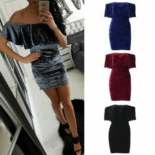 Women Sexy Off Shoulder Lotus leaf Dress Bodycon Sleeveless Solid Mini Dress
