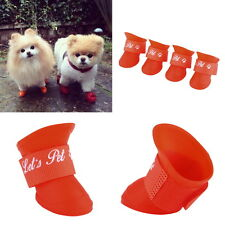 4PCS Waterproof Pet Puppy Dog Teddy Rain Boots Shoes Anti-Slip Paws Booties I~