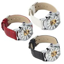 Unisex Round Case Classic Mechanical Analog Watch PU Band Hollow Dial AK